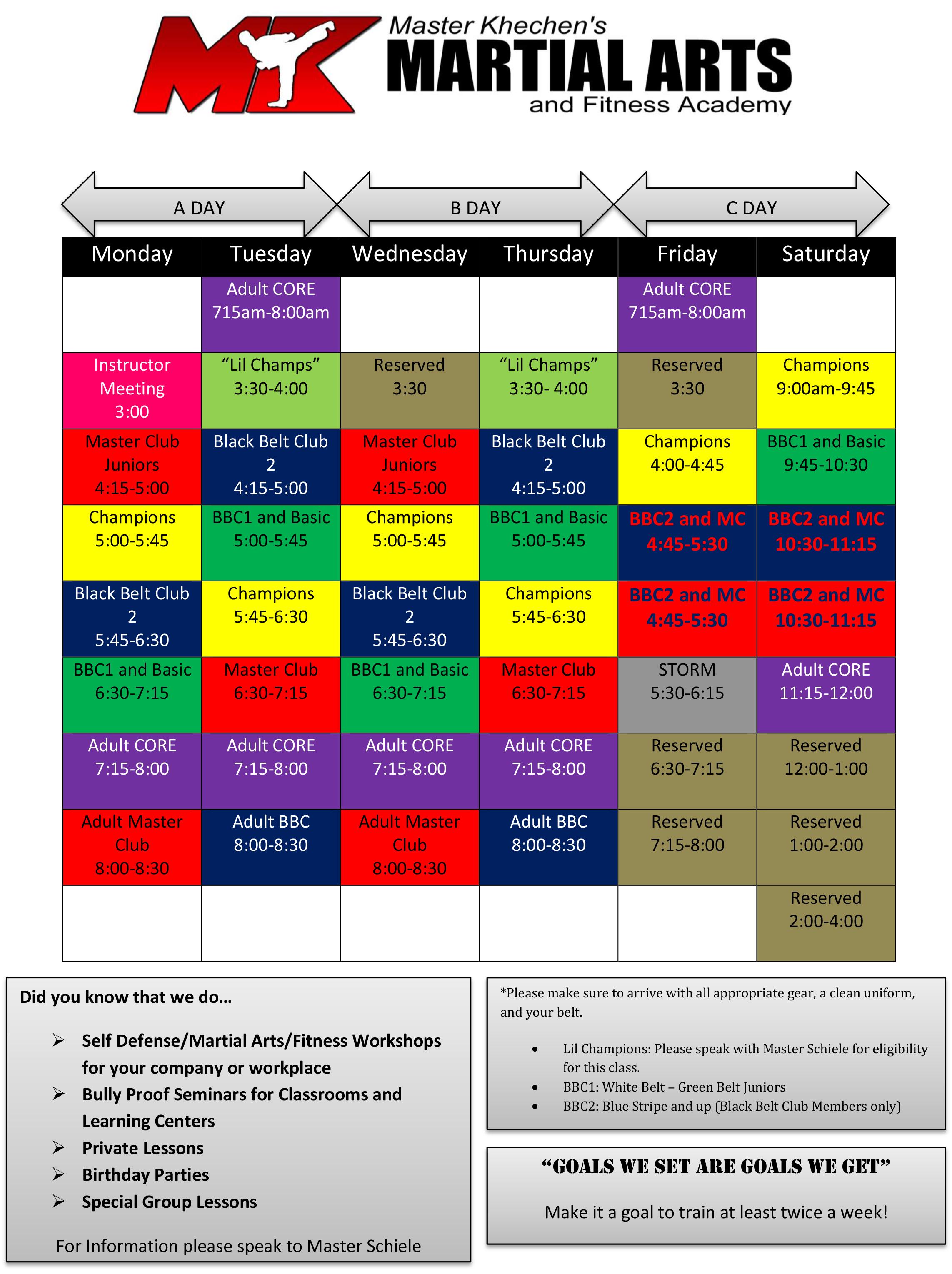 Williamsville Schedule